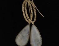 elajoyas. Pendientes Pure-Stone de oro y piedra de luna.