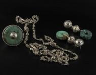 elajoyas. Pendientes Mandala de plata con brillante. Anillo Mandala de planta con turquesa y brillante. Cadena de plata