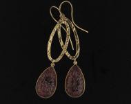elajoyas. Pendientes Pure-Stone de oro con gota de turmalina rosa tallada en forma de flor